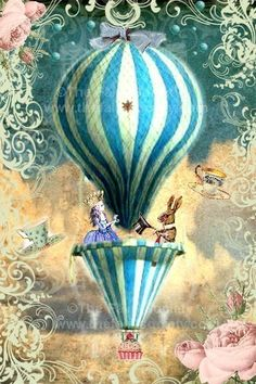 "Alice In Wonderland Tea Party. ""In The Sky"" fabric block for appliqué, such as the front panel on a hat Alice In Wonderland Tea Party, Air Ballon, Hot Air Balloon, Balloon Party, Etiquette Vintage, Mad Hatter Tea, Lewis Carroll, Collage Art, Tatoo"