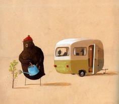 L'ours et la Caravane par Oliver Jeffers. Oliver Jeffers, Children's Book Illustration, Illustration Children, Illustrations Posters, Childrens Books, Book Art, Character Design, Just For You, Artwork
