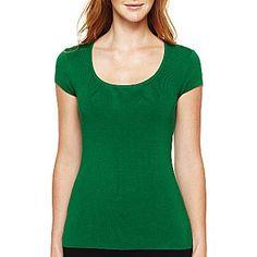 Liz Claiborne Short-Sleeve Crew-Neck Sweater - jcpenney