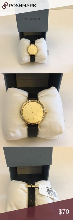 NWT SKAGEN WOMENS WATCH NWT SKAGEN WOMEN WATCH Gold Face, Black Adjustable Leather band Skagen Accessories Watches