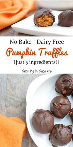 These no bake pumpkin truffles are perfect for a Thanksgiving dessert – or anytime this fall!  You'll only need 5 simple ingredients to make this dairy free rec