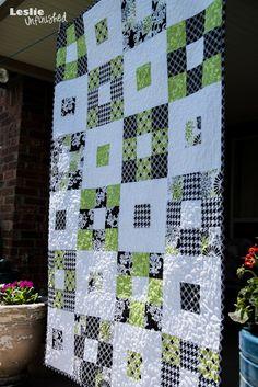 Leslie Unfinished: Nat's Quilt. Simple nine-patch but love the colors