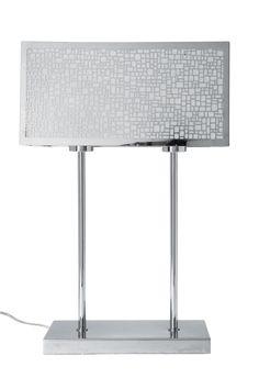 KARE Design Tischleuchte TL Salon mit glänzendem Fuß und rechteckigem Schirm, aus Edelstahl und Kunststoff, ausgelegt für maximal 60 Watt.