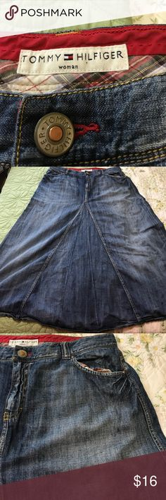 Tommy Hilfiger Denim ALined Skirt Great Condition This skirt is so cute on. Can be worn now with summer attire or in the Fall with riding boots and sweater.  I can't say enough about this skirt Tommy Hilfiger Skirts