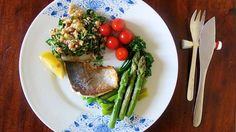 Healthy dinner - Quinoa & Kale & Beans Salad and grilled sea bream.