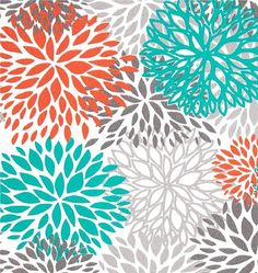 Drapes/Curtains - Premier Prints Blooms Collection - Orange, Grey, Teal and White (50 x 96) via Etsy