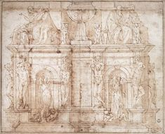 Michelangelo - Design for Julius II tomb (second version) Date: Rome, Italy Style: High Renaissance Series: Design for Julius II tomb Genre: sketch and study Media: ink, paper Location: Uffizi Gallery, Florence, Italy Michelangelo, Renaissance Kunst, Italian Renaissance, Miguel Angel, Renaissance And Reformation, Rome, Sistine Chapel, Architecture Drawings, Church Architecture