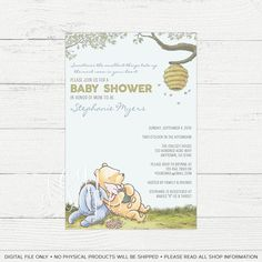 Classic Pooh Baby Shower Invite