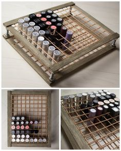 DIY Wood and Rope Lipstick Storage Tutorial from Sandra Holmbom. This is a no power tools DIY. You can find the materials for this DIY Lipstick Storage in any hardware or craft store. Sandra Holmbom knows her makeup, and I've posted so many of her beauty Diy Makeup Organizer, Lipstick Organizer, Makeup Storage Organization, Organization Ideas, Storage Organizers, Storage Ideas, Diy Lipstick Holder, Diy Beauty Storage, Makeup Holder