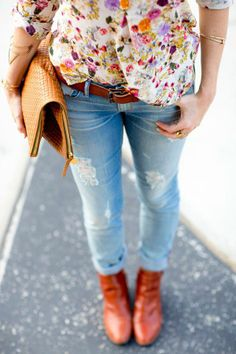 breezy floral top,with distressed jeans