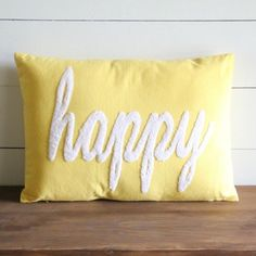 """Embroidered """"Happy"""" Throw Pillow"""
