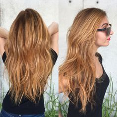 My latest summer hair by Walker at Bespoke Salon, Scottsdale. She took me to golden strawberry heaven! summer hair, strawberry blonde, redhead, mermaid hair, copper hair, long hair, balayage