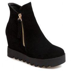 Platform Hidden Wedge Suede Ankle Boots