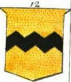 A modern representation of the arms of Vavasour, Or, a fess dancette Sable, from page 60 of an Introduction to Heraldry by Hugh Clark (1829).