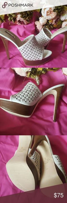 """Guess Leather Heels Silver Studs Mule Sandal EUC 8 Guess Leather White with Silver Studs Mules Slides Heels  size 8 worn 1x. EUC Heel approx 5"""" platform 1 1/4""""  Slip on comfort Guess Shoes Mules & Clogs"""