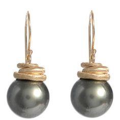 gray pearl earrings  #jewelry