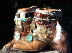 Upcycled boho cowboy boots with teal accents from TheLookFactory on Etsy
