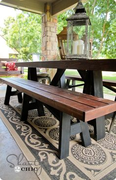 DIY Bench for Dining Table - DIY Bench Table set for deck. Love the stain color too - Dining Furniture, Diy Furniture, Outdoor Furniture, Furniture Design, Concrete Furniture, Furniture Assembly, Plywood Furniture, Chair Design, Modern Furniture