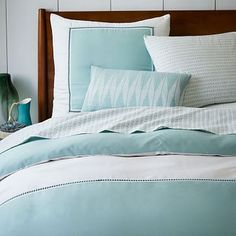 Organic Embroidered Colorblock Duvet Cover + Shams - Pale Harbor #westelm. This with a dark blue matelase and fun pillows