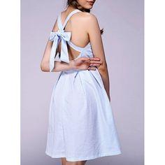 Sweet Bowknot Backless Dress For Women - STRIPE L