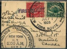 """United States 8 C. airmail 1923 together with 2 C. value on mini first flight letter """"New York - HARTFORD"""" 1. 7. 26 and further on the overland route to Montreal / Canada    Dealer  Fischer Thomas Auktionshaus    Online Auction  0 bid(s)    Startprice:  20.00 EUR  Auction ends at 30.01.2013!"""