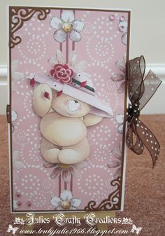 Julies Crafty Creations: My DT card for Forever Friends challenge 54 Use ribbon/lace Forever Friends Cards, Friend Challenges, Tatty Teddy, Handmade Cards, Making Ideas, Card Ideas, Bears, Christmas Cards, January