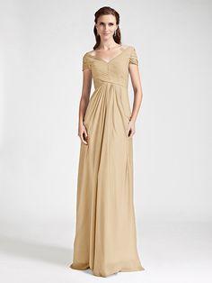 Floor-length Chiffon Bridesmaid Dress - Ruby / Grape / Royal Blue / Champagne / Silver Plus Sizes / Petite Sheath/ColumnV-neck / - USD $ 79.99