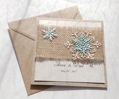 Handmade snowflakes wedding invite/Burlap invite/Winter