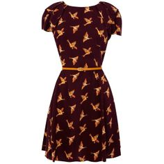Oasis Country Bird Skater Dress, Purple Multi ❤ liked on Polyvore