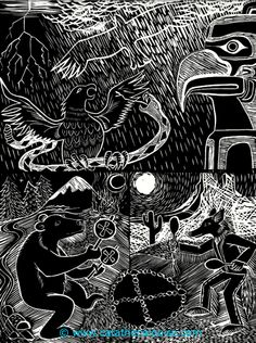 Prayer Dance Trilogy ~ Lino cut print (3 prints combined) black ink on paper  © Cat Athena Louise For more information on my art & process, please visit : http://www.catathenalouise.com