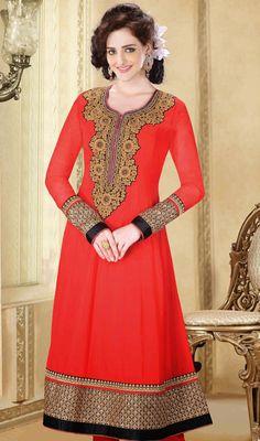 Regal Red Mughal Style Anarkali Salwar Kameez Price: Usa Dollar $234, British UK Pound £138, Euro172, Canada CA$251 , Indian Rs12636.