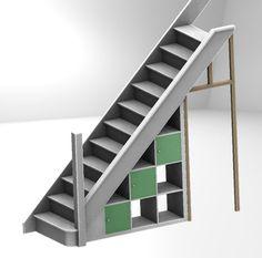 Ikea Expedit hack: under-stairs storage