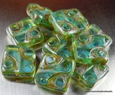 Premium Czech Beads - 10mm Square Table Cut Czech Glass Beads - Light Aqua Picasso - 10 pcs