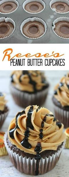 Homemade Desserts for Parties and Bir… Reese's Peanut Butter Cupcakes Recipe! Homemade Desserts for Parties and Birthday Desserts! Reeses Peanut Butter Cupcakes, Butter Cupcake Recipe, Homemade Cupcake Recipes, Homemade Frosting, Cupcake Flavors, Baking Recipes, Homemade Recipe, Recipe Recipe, Recipe Cups