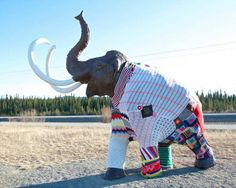 Do you think that wooly mammoths yarn bomb outfit is made of wool? How ironic if so.