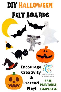 DIY Halloween Felt Board Templates Fun Halloween Crafts, Halloween Activities For Kids, Printable Activities For Kids, Craft Projects For Kids, Arts And Crafts Projects, Halloween Felt, Felt Board Templates, Monster Activities, Flannel Board Stories