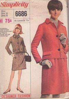 MOMSPatterns Vintage Sewing Patterns - Simplicity 6686 Vintage 60's Sewing Pattern SMART Mod Designer Fashion Princess Seams Suit Jacket, Hidden Pockets Slim Skirt