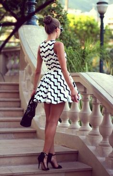 Fantastic use of chevron print and perfect length for a petite woman.