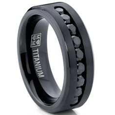 $20 - Amazon.com: Men's Black Titanium Ring Wedding Engagement Band With 9 Large Channel Set Black CZ, 8mm Sizes 7-13: Jewelry
