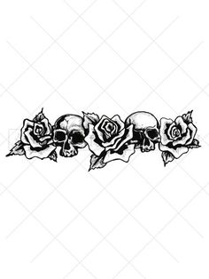 Wrap this rose and skull tattoo around a bicep to form an awesome armband tattoo. This black and white temporary tattoo features flowers and skulls to symbolize the fleeting beauty that is life. Wear