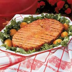 """""""Zesty Grilled Ham""""    This is my children's first choice of ham dishes. The mixture of sweet and tangy flavors is mouthwatering on a grilled piece of ham. Even the small ones eat adult-sized portions, so be sure to make plenty.— Mary Ann Lien, Tyler, Texas"""