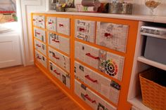 Craft Trailer, My 1960 Streamline travel trailer turned stationary CRAFT TRAILER STUDIO!, storage cabinets. Drawers were decoupaged with enc...