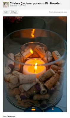 instead of corks...cotton:)  I've been trying to figure out how to have candles & cotton in one container without burning the place down!:)
