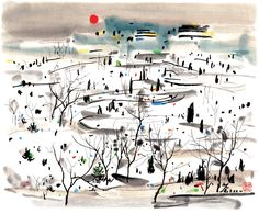 """""""Winter Sun"""" by  Wu Guanzhong (吳冠中, 1919–2010), one of the best known contemporary painters of Chinese origin"""