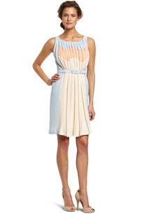 Eva Franco Womens Isis Pleated Front Color-Block Dress, Amalfi, 10 US
