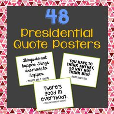 "48 President Quote Posters. Great for memory work, copy work, and writing prompts. Presidents included: Barack Obama, Donald J. Trump,  Benjamin Harrison, William McKinley, Theodore Roosevelt, William Taft, Woodrow Wilson, Warren Harding, Calvin Coolidge, Herbert Hoover, Franklin D. Roosevelt, Harry Truman, Dwight D. Eisenhower, John F. Kennedy, Lyndon B. Johnson, Richard Nixon, Gerald Ford, James ""Jimmy"" Carter, Ronald Reagan, George H. W. Bush, William ""Bill"" Clinton, George W. Bush"