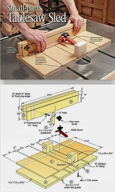 Small Parts Table Saw Sled Plans - Table Saw Tips, Jigs and Fixtures | WoodArchivist.com #WoodworkTechniques