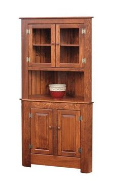 Amish Farmhouse Pine Corner Hutch Solid pine wood hutch. Amish made by hand in Pennsylvania. Light to heavy distressing available for an antique look. #DutchCrafters