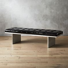 Quintessential midcentury modern design with extra edge-factor. A Mermelada Estudio original, bench spotlights a sculptural base in brushed stainless steel, topped in luxe patent leather. Modern Storage Bench, Bench With Storage, Mid Century Modern Design, Mid Century Modern Furniture, Midcentury Modern, Large Ottoman Coffee Table, Cantilever Chair, Corporate Office Design, Leather Bench