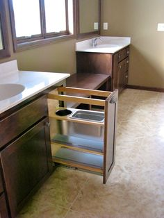 """Clean efficient see through storage. Almost making """"getting ready"""" too easy! Made By: Lakeside Cabinets and woodworking"""